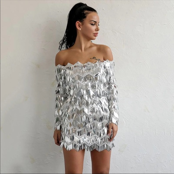 2f56c368ea0 Sequin Fringe Embellished Silver Mini Dress